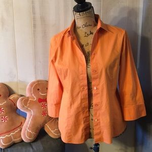 New York & Company Orange Button Up Blouse Size S